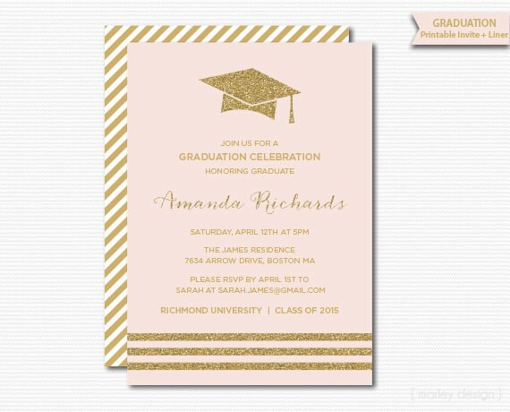 Pink gold graduation invitation printable graduation party filmwisefo