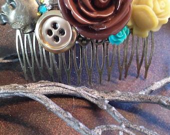 Vintage Rose Garden Hair Comb