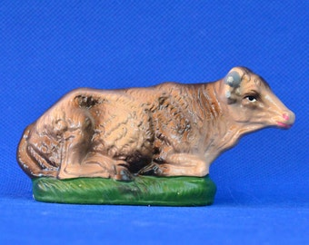Vintage Papier Mache Nativity Resting Cow/Bull - Made in Japan
