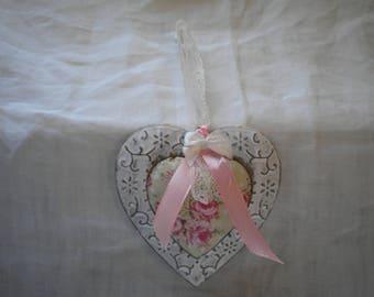 HEART HANGING SHABBY ROMANTIC PINK WHITE