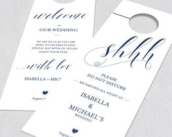 Navy Blue Wedding Door Hanger, Door Hanger Printable, Door Hanger Template,  Please Do