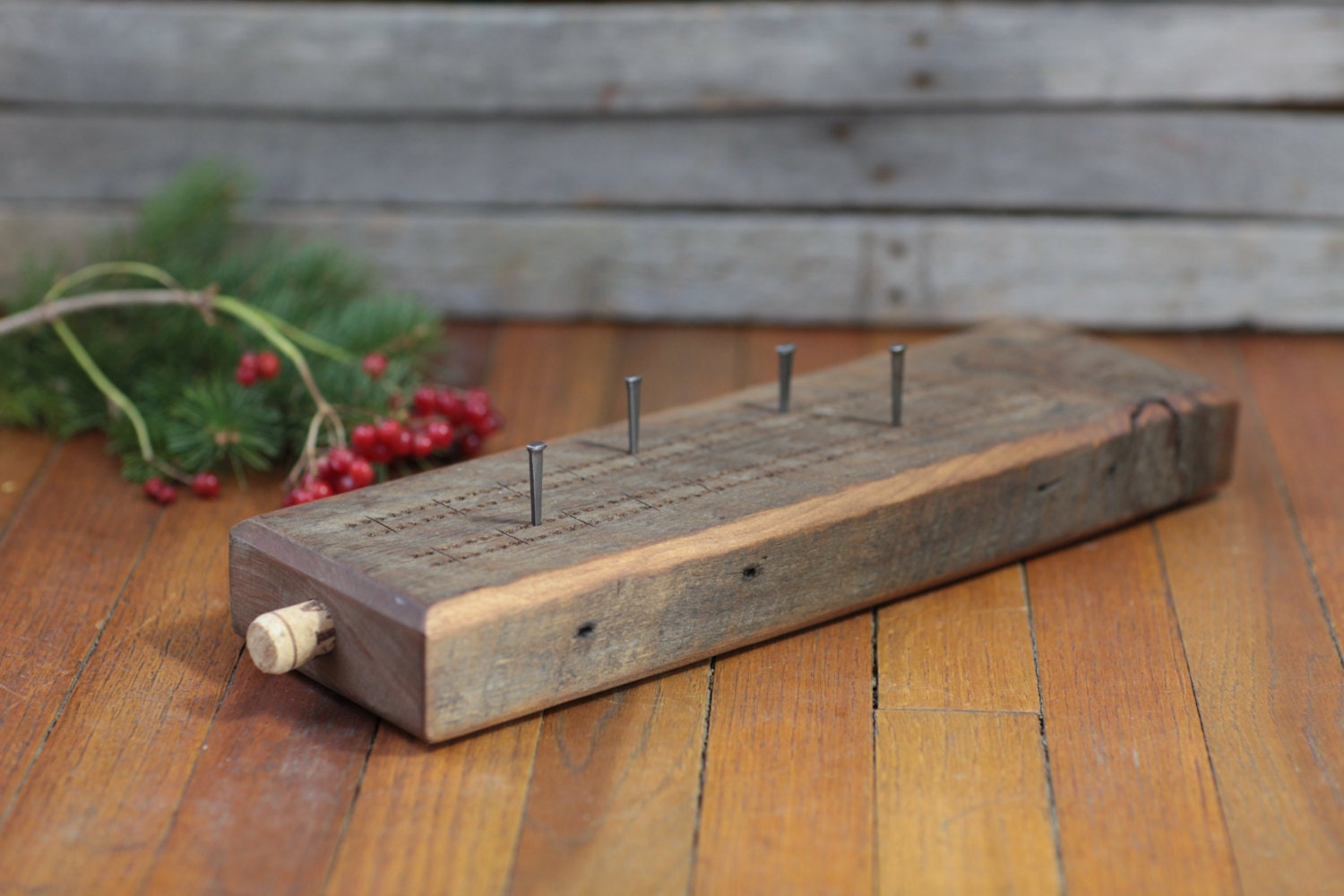 Cribbage Board Reclaimed Barn Wood Oil Rubbed Option to