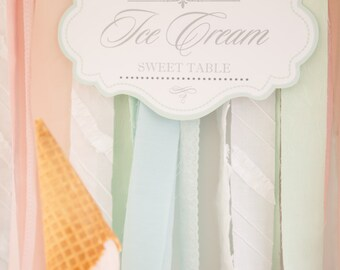Ice Cream Sweet Table Backdrop Printable Design / DIY Modern Printable Party & Birthday Decor - Digital File