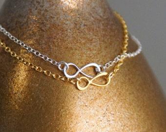 Dainty Infinity Charm Bracelet / Dainty Bracelet / Layered Bracelet / 14K Gold Filled or Sterling Silver Bracelet / Infinity Charm