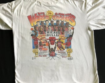 Chicago Bulls 1993 3 Time NBA World Champs Chicago Caricature Comic Series by Salem Michael Jordan and His Team Comic Book Style Size XL