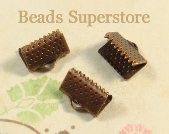 FINAL SALE 10 mm x 7 mm Antique Copper Ribbon End Tip - Nickel Free and Lead Free - 20 pcs