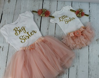 New Peach Big Sister Little Sister Outfits Sets Baby Shower Gifts Annoucement Shirt Lil Sis Big Sis Peach Tutu Gold Headband Peach Bloomers