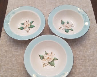 1950's Lifetime China Company Set Of 3 Magnolia Turquoise And Silver Lining Bowls