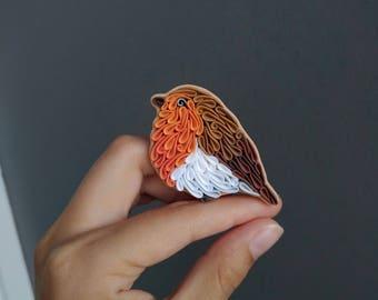 Robin bird brooch pin Robin gifts Bird lover gift Bird jewelry Polymer clay bird brooch Robin ornament Orange brown bird jewelry