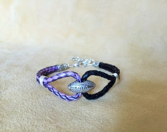 Leather Football Bracelet in Baltimore Ravens Colors