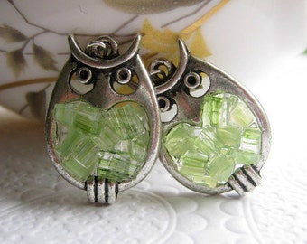 Stained Glass Peridot Owl Earrings