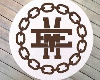Personalized Yale Monogram Wedding Coasters, Interlocking Initials Bar Coasters, Custom Initial Party Coasters