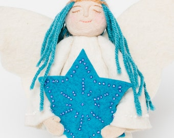 Felt Angel Tree Topper, Star of David Angel, Felt Christmas Tree Topper
