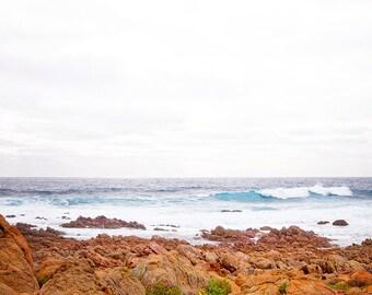 Waves Crashing on the Sun Burnt Rocks, Beach Photography, Ocean Art, Home Decor, Crystal Blue Ocean Photography,