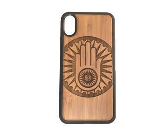 Jainism Hand iPhone X Case Cover by iMakeTheCase Bamboo Cover + TPU Wrapped Edges Jain Emblem Symbol Ahimsa Non-violence Medallion, Sunburst
