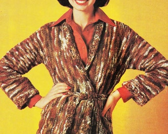 Vintage Cardigan Jacket Sweater Knitting Pattern - PDF Instant Download - Wrap Sweater Coat Jacket - Crochet Pattern - Digital Pattern - Vtg