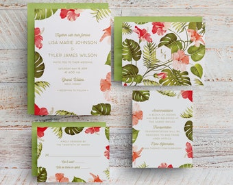 Tropical Wedding Invitations, Hawaii Wedding, Destination Wedding, Save the Dates, Menus, Printables, Templates, Table Numbers, Maui