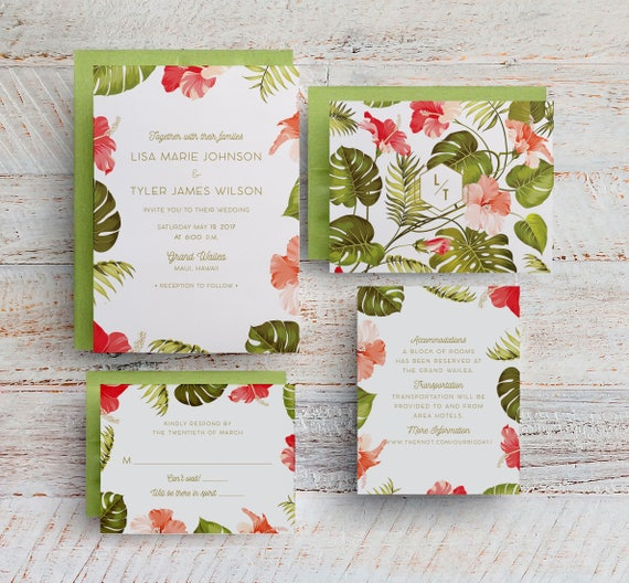 Tropical Wedding Invitations: Tropical Wedding Invitations Hawaii Wedding Destination