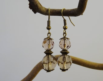 Bronze earrings - faceted glass beads - taupe-