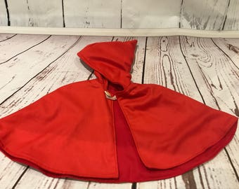 Little Red Riding Hood Wool Pixi Cape Size 1-3 years