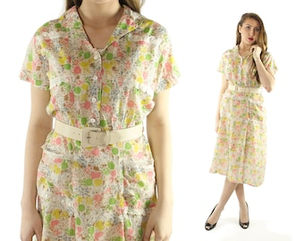 Vintage 40s Floral Day Dress Cotton Gauze Short Sleeves Button Up 1940s Large L Pinup Rockabilly
