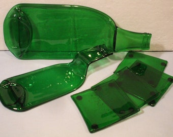 6 Piece Hand Blown Recycled Glass Bottle Serving Set