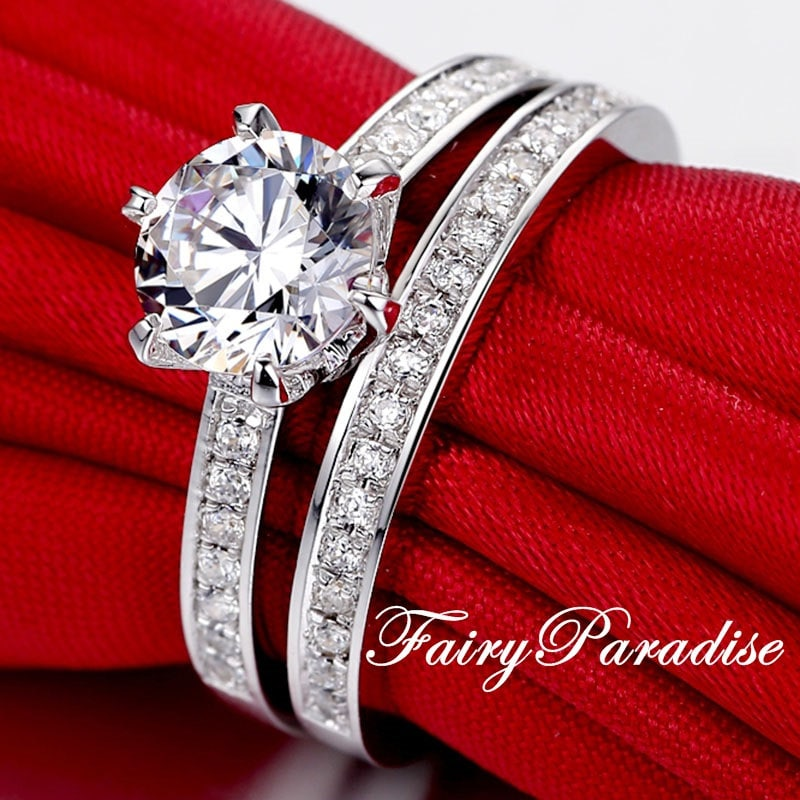2 Carat Solitaire Engagement Wedding Ring Bridal Set