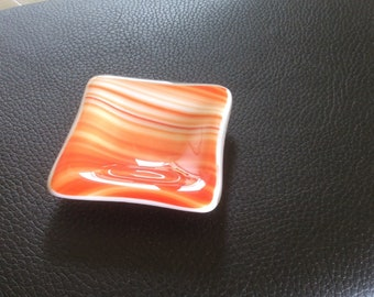 Orange white square fused glass dish