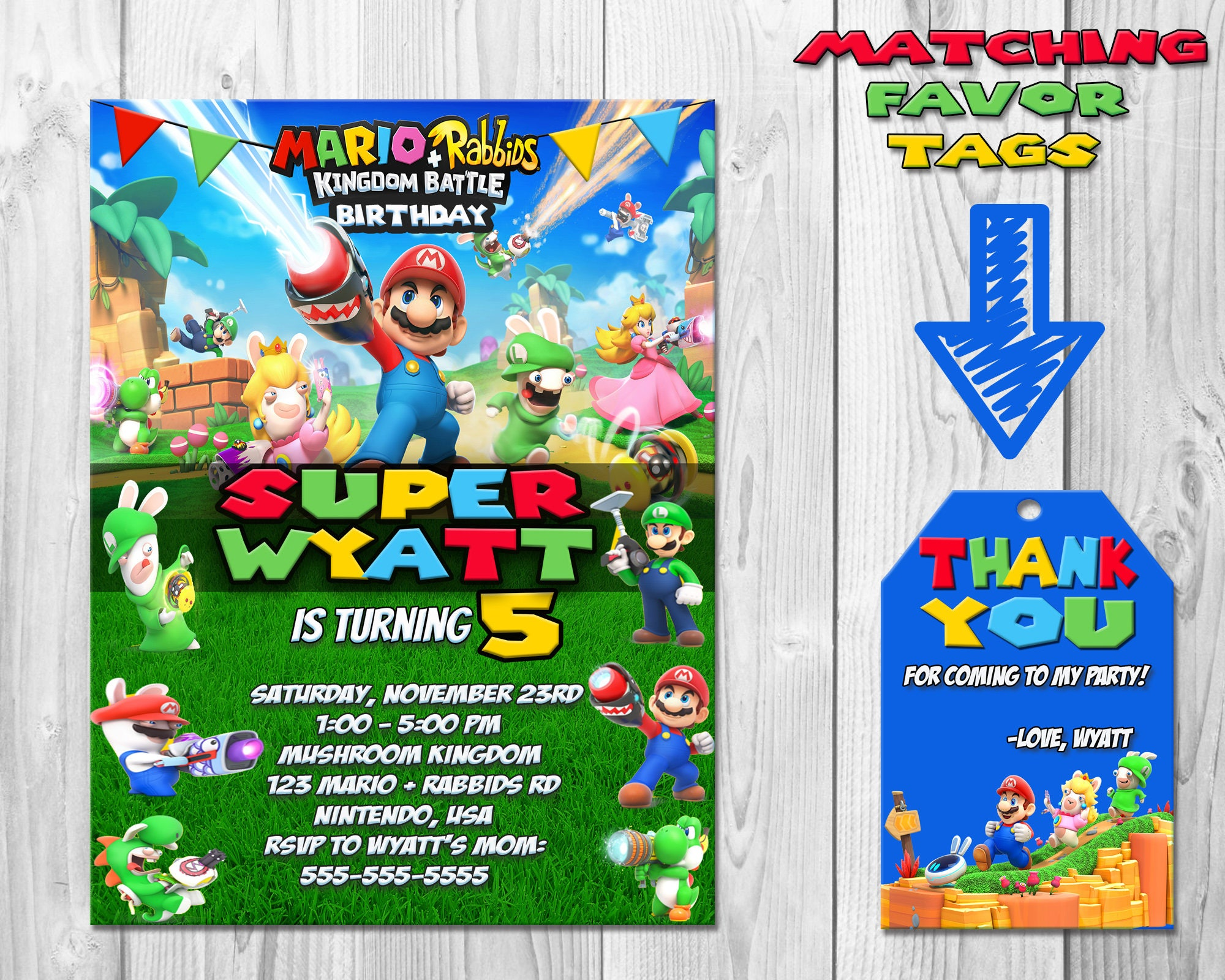 Mario rabbids kingdom battle birthday party invitations description mario rabbids kingdom battle bithrday party invitations monicamarmolfo Gallery