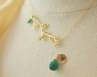 Gold Branch Lariat Necklace - May Birthstone Necklace/ Gold Branch Necklace/ Gold Necklace/ Initial Necklace/ Engraved Necklace/ Monogram