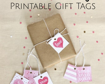 Printable Gift Tags, Valentine Treat, Gift Tags, Valentines Party, Watercolor Valentine, Pink Gift Tag, Valentine Printable, Party Tag