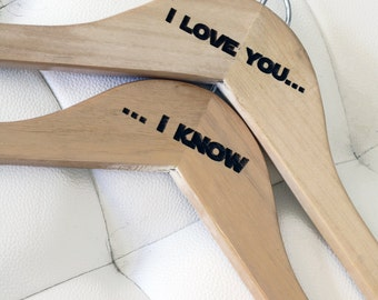 Space/Galaxy/Sci-Fi Themed Wedding Hanger set for Bride and Groom - Wooden Wedding Hanger