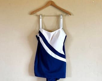 1960's Robby Len Swimsuit, Vintage Navy Blue and White Pin Up Women's Swim Suit