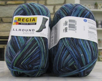 Regia Sock Yarn All Around 4969 grass color,  75% wool 25 ny 462 y 100g ** shipped as  [2] 50g skeins