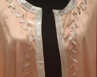 Vintage Duster/Kimono silk w/ silver trim