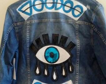 Evil eye, voodoo child, embellished jean jacket. Size M new.