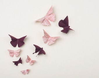 3D Wall Butterflies: Butterfly Wall Art for Nursery, Girl's Room, or Home Decor in Plum & Logophile