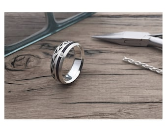 Weave Oval Diamond, wood and diamond rings UK