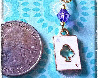 Hearing Aid Charms:  Gold Plated Enamel Aces with Glass Accent Beads!  Also available as a matching mother daughter set!