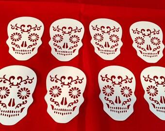 Sugar Skull Die Cuts * Day of the Dead * Dia de Los Muertos * Cardstock* Eight Sugar Skulls! *