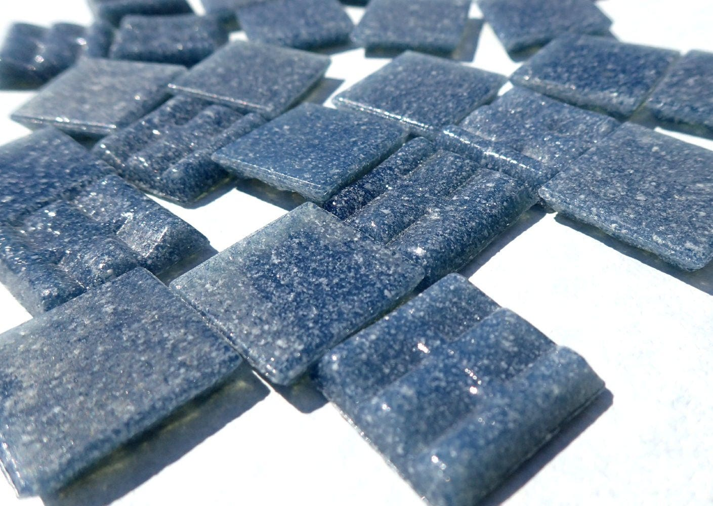 Dusky Blue Glass Mosaic Tiles Squares - 3/4 - Half Pound of Dark ...