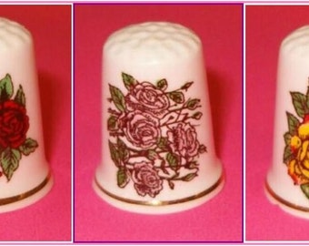 Lot of 3 Beautiful Porcelain Thimbles with  Roses