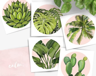 Set of 5 double sided plant mini prints - cactus, palm, bird of paradise, monstera and succulent