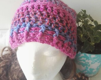 Pink /Purple Slouchy Hat in Thick Warm chunky yarn.  Crochet.   Ready to Post