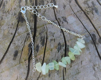 Jade Chip Bracelet, New Jade (Serpentine) and Silver Bracelet, Gemstone Nuggets, Light Green Jewellery, Gift for Her, Grounding Gemstone