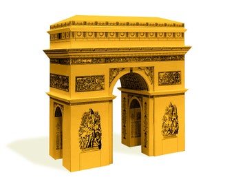 Arc de Triomphe Paris - French architecture paper model craft kit || 16 cm or 6 inches high || white gold silver steel color metallic paper
