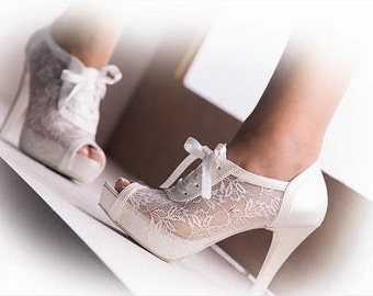 Wedding shoes, Bridal shoes, Handmade Lace  wedding shoes  2 1/2, 3 1/2, 4 1/2 or 5 1/2 inches heels and via Express Cargo UPS