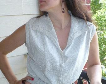 Sale 1960s 60s Helen Bond designer silver Metallic Cocktail party dress M L by jeansvintagecloset on Etsy