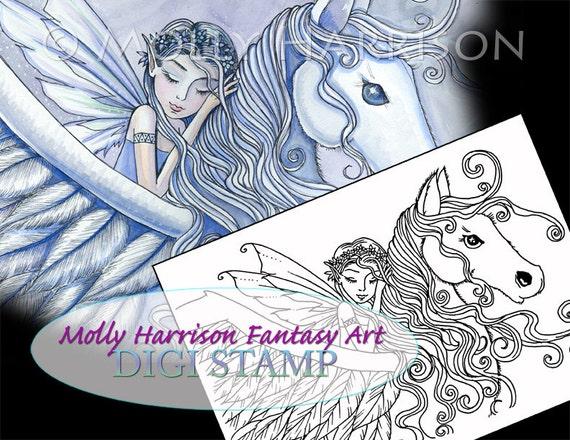 Juego de 5 sellos digitales - dibujos para colorear - Molly Harrison ...