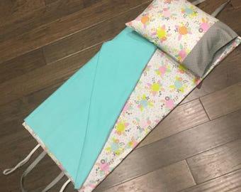 Kindermat Napmat Cover - Floral Poppy Mint